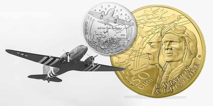 France 2018 Aviation & History - C47 Gold and Silver Coins