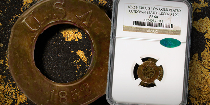NGC Gold $1 on Gold Plated Cutdown Seated Legend 10c