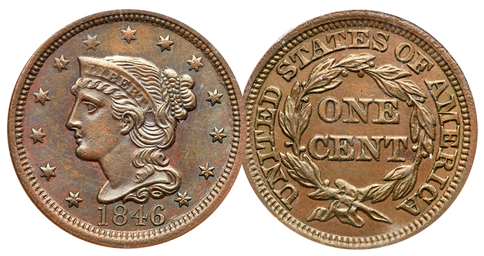 Lot 97: 1846 N-13 Tall Date Cent - Goldberg's Auctions.