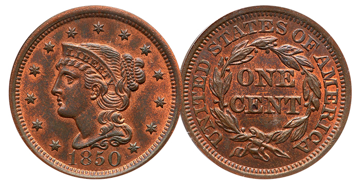 1850 Large Cent N-6. Goldberg Auctioneers.
