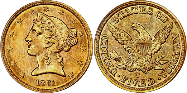 Finest Known 1861-C Half Eagle is sold