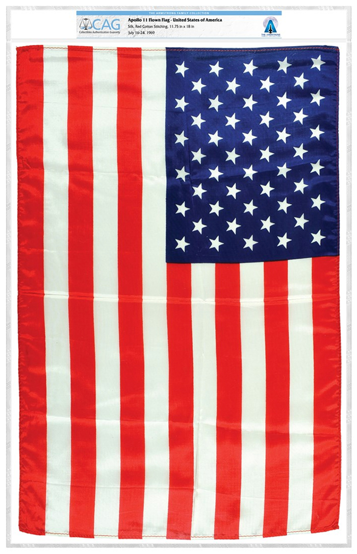 Apollo 11-Flown American Flag, from the Armstrong Family Collection and certified by CAG.