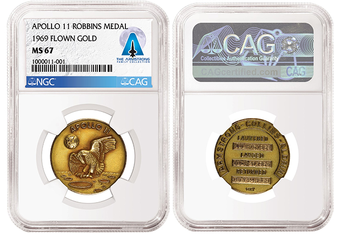 Apollo 11 Flown Gold Robbins Medal, graded NGC MS 67 and certified by CAG as part of the Armstrong