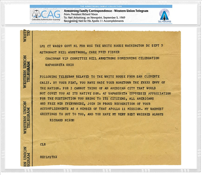 Western Union Telegram from President Richard Nixon to Neil Armstrong, September 5, 1969, certified by CAG.