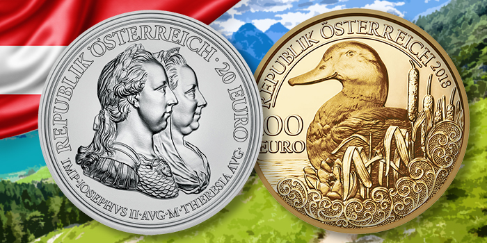Austrian Mint - 2018 Maria Theresa 20 Euro Silver Coin - 2018 Wildlife in Our Sights 100 Euro Gold Coin