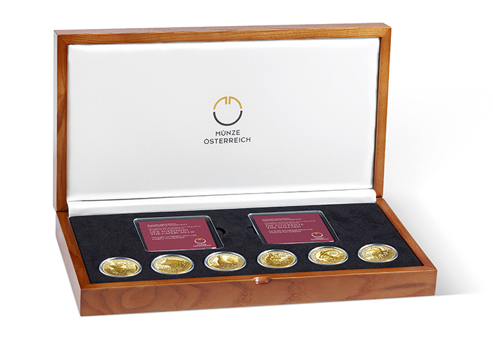Austrian Mint 100-euro gold Wildlife in Our Sights display case