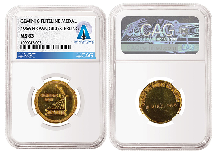 Gemini 8-Flown Gilt/Sterling Fliteline Medal, graded NGC MS 63 and certified by CAG as part of the Armstrong