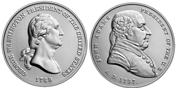 Washington and Adams Silver Presidential Medals - 2018