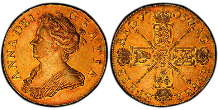 GREAT BRITAIN. England. Anne. 1705 AV Five Guineas. PCGS AU55.