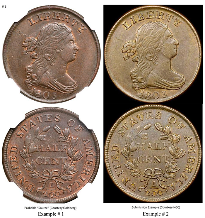 1803 C-3 source coin and counterfeit