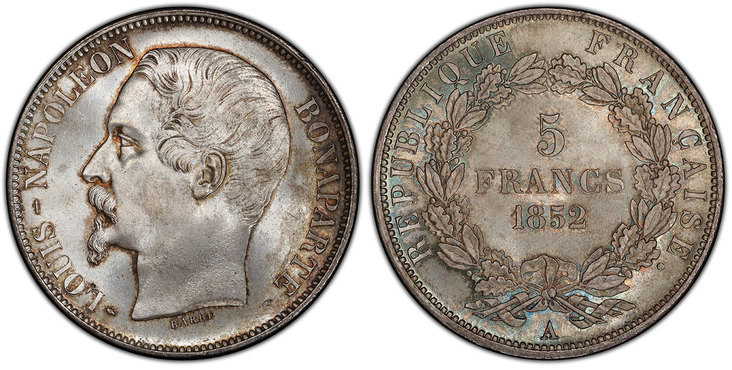 1852-A AR 5 Francs. PCGS MS66