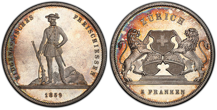 SWITZERLAND. 1859 AR 5 Francs Shooting Thaler. PCGS SP66.