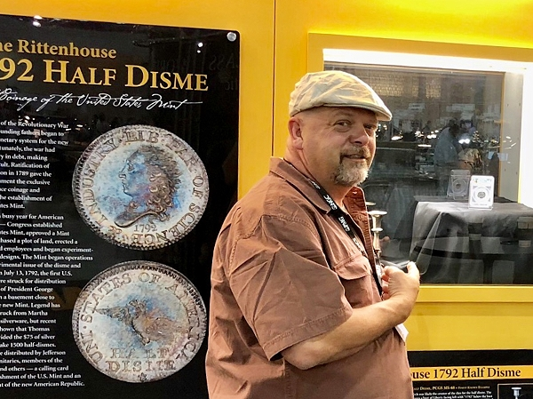 "Rick Harrison of the popular TV program, ""Pawn Stars,"" with the 1792 Half Disme. Photo courtesy of Classic Coin Company."