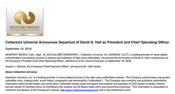 David Hall Termination Press Release