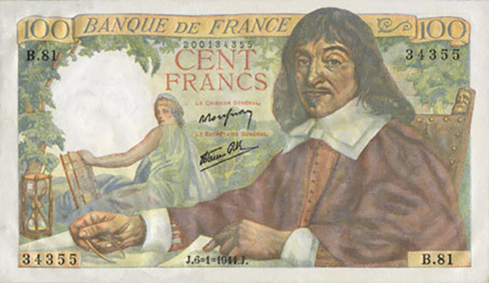 100 Francs DESCARTES 1944 France