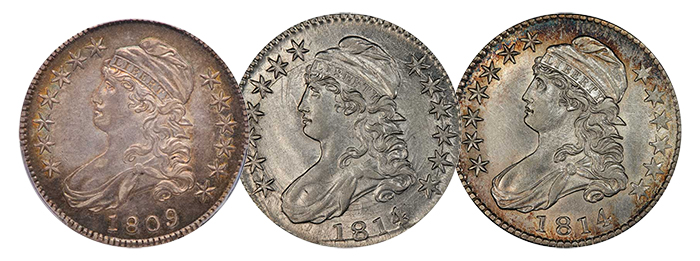 Konstantine Capped Bust Half Dollar Set - 1809 and two 1814 specimens