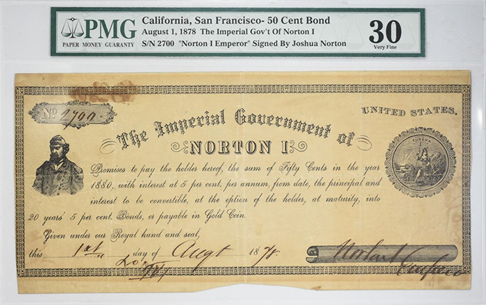 Kagin's Emperor Norton I 50-Cent Bond