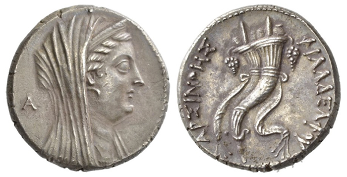 Figure 6: Ptolemy II Philadelphos, In the name of Arsinoë II. Decadrachm