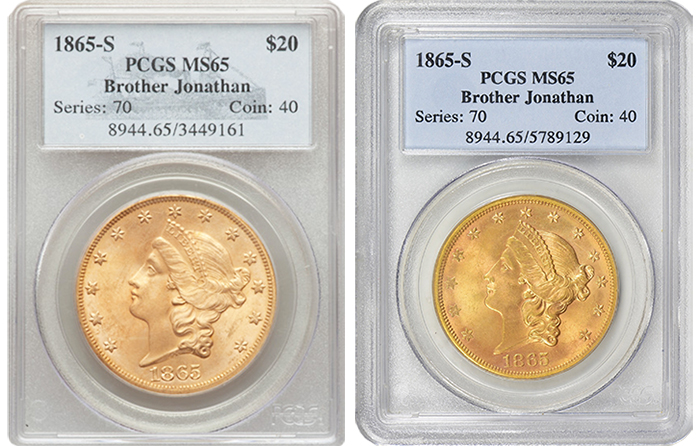 Left: 1865-S MS65 Realized $25,850 at Heritage Auction (2015). Right: 1865-S MS65 Realized $31,836.38 at Sunday's GreatCollections Auction