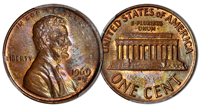 Lot 2039: 1969-S Lincoln Cent. FS-101. Doubled Die Obverse. MS-63 BN (PCGS)
