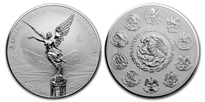 2018 5 Ounce Reverse Proof Libertad- Mexico