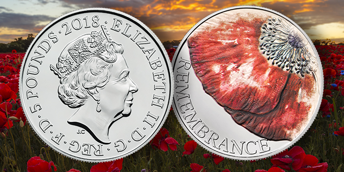 Royal Mint UK 2018 Remembrance Day 5 Pound coin