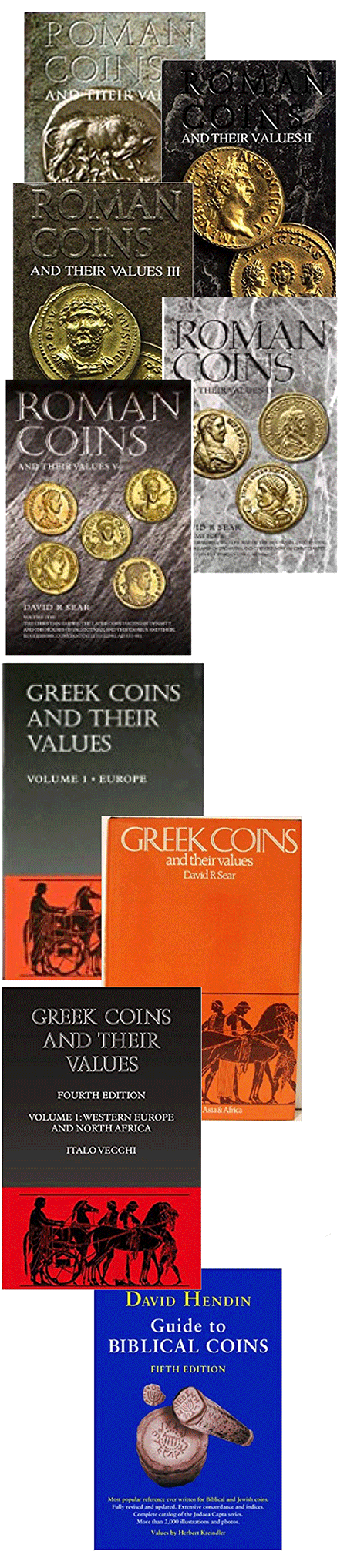 Selection of books about ancient coins