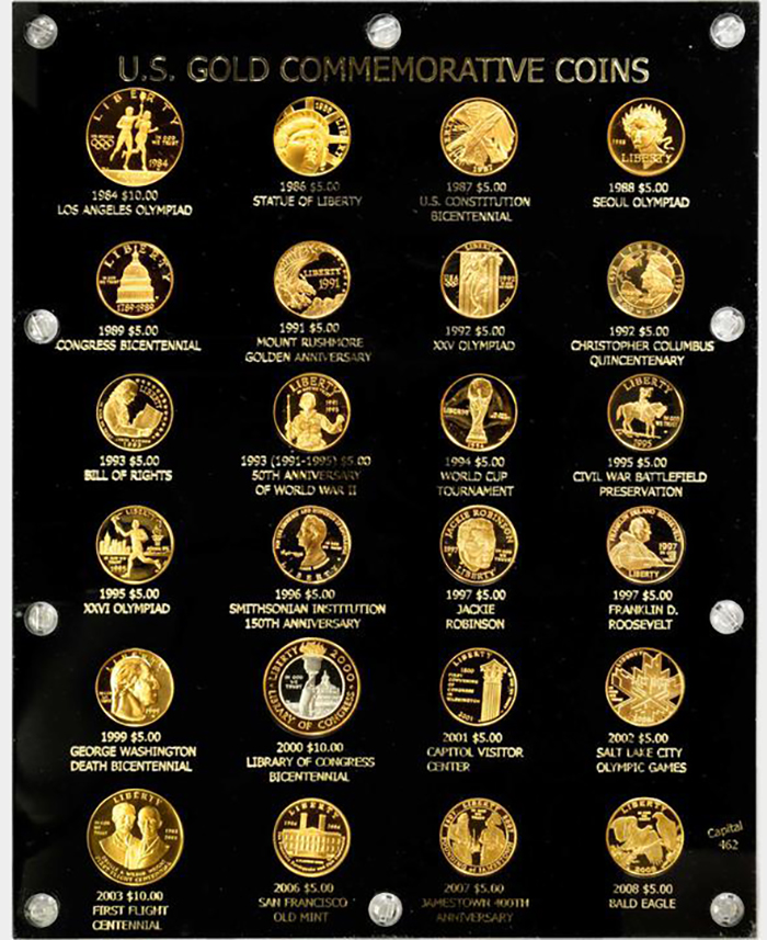 Lot 1646: Complete Type Set of Modern Commemorative Gold Coins. Proof Deep Cameo (Uncertified).