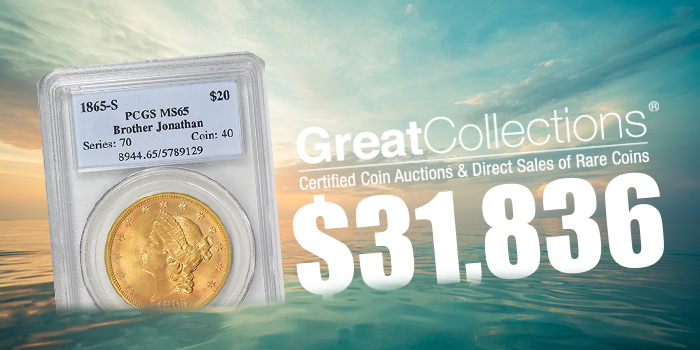 GreatCollections 1865-S $20 Gold Coin