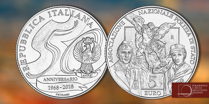 Italy 2018 5 Euro 50th Anniversary of the Association of the National Police