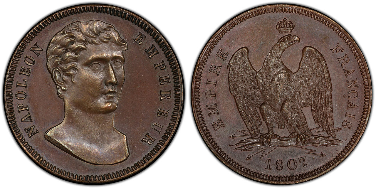 FRANCE. Napoleon. (Emperor, 1804-1814). 1807 CU Essai 100 Francs. Image courtesy Atlas Numismatics