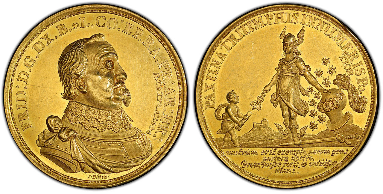 GERMAN STATES. Brunswick-Luneburg-Celle. Friedrich IV. (Prince of Luneburg, 1636-1648). 1646 AV Medallic 10 Ducats. Image courtesy Atlas Numismatics
