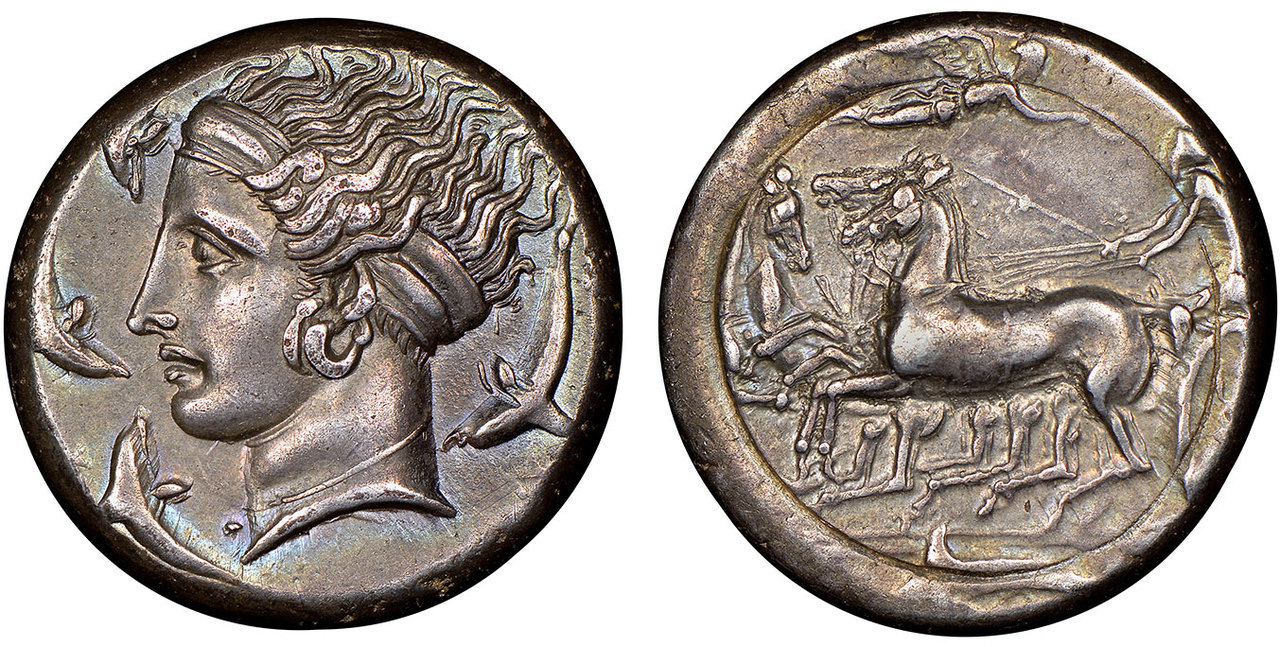 GREEK. SICILY. Syracuse. In the style of Eucleidas. Struck circa 405-385 BC. AR Tetradrachm. Image courtesy Atlas Numismatics