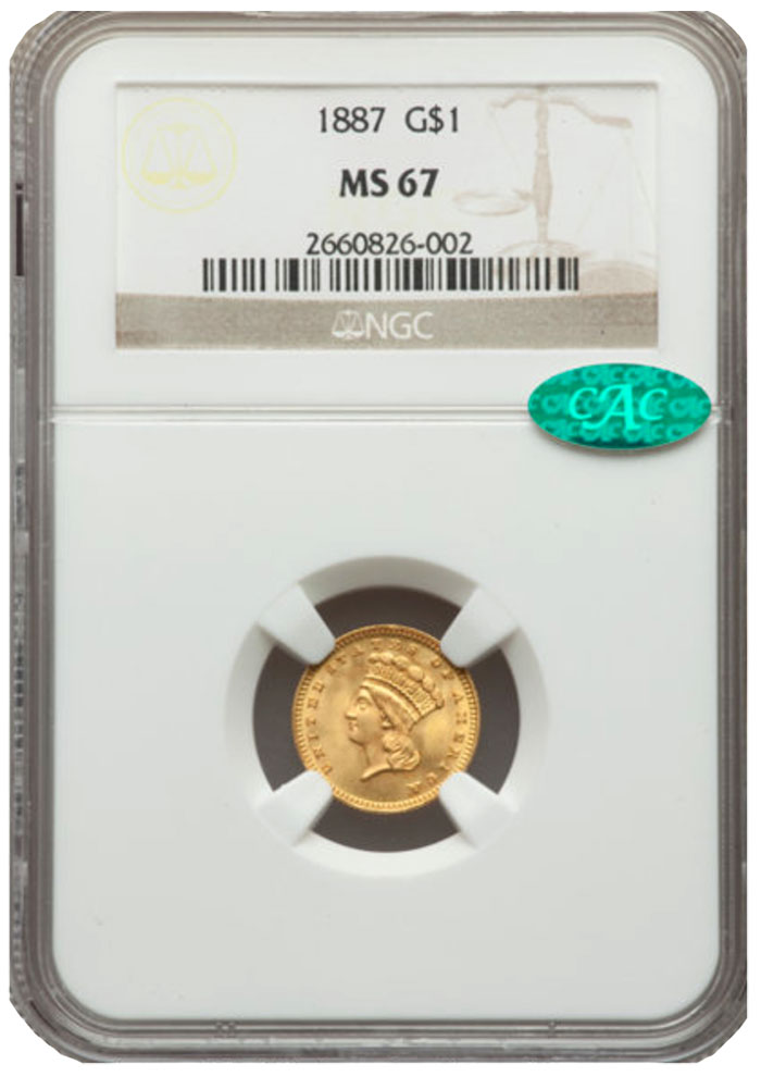 1887 Gold $1 MS67 CAC NGC