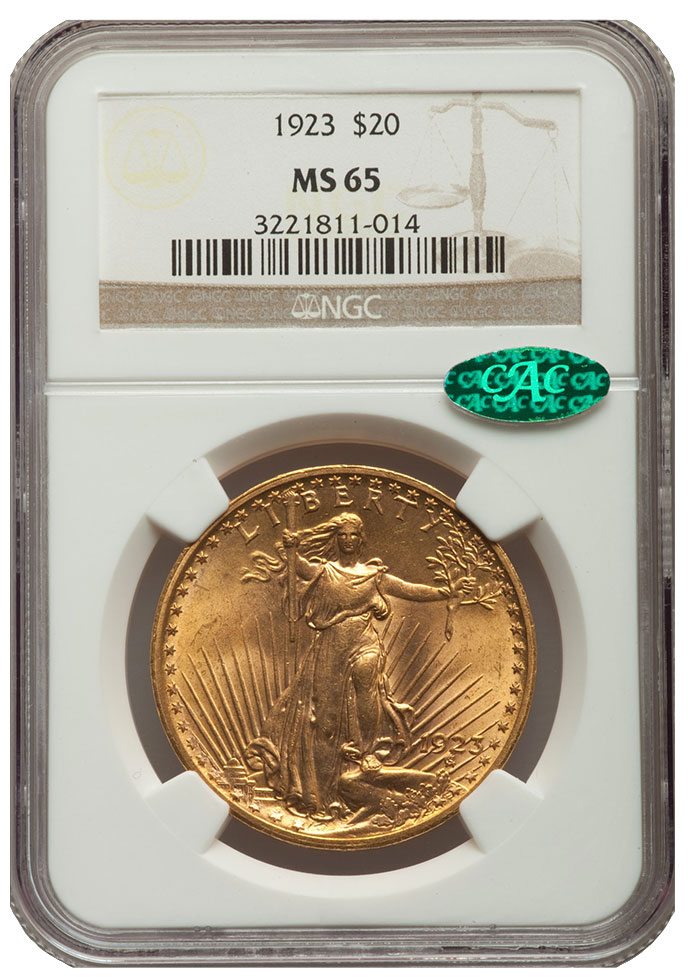 1923 Saint Gaudens $20 in MS-65