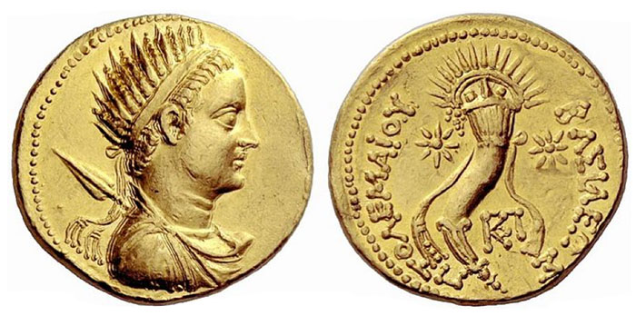 Ptolemy V Epiphanes, 205 – 180 Octodrachm, uncertain mint circa 205-180, AV 27.75 g. Draped bust of Ptolemy V r., wearing radiate diadem and chlamys; spear over l. shoulder. Rev. ΒΑΣΙΛΕΩΣ − ΠTOΛEMAIOY Radiate cornucopiae bound with royal diadem and surmounted by radiate crown; at either side, star. In lower l. field, monogram. Svoronos 1527 and pl. 41, 18 (these dies).