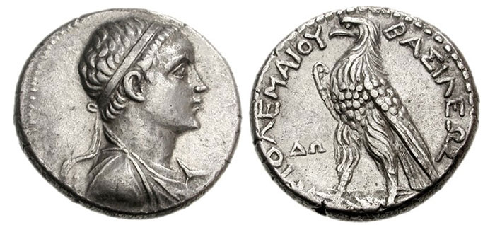 "Ptolemy V Epiphanes. 205-180 BC. AR Tetradrachm (14.01 g, 12h). Dora mint. Struck circa 205-200 BC. Diademed and draped bust of Ptolemy V right / BAΣIΛEΩΣ ΠTOΛEMAIOY, Eagle standing right on thunderbolt; ΔΩ to left. Svoronos 1262; O. Mørkholm, ""Some coins of Ptolemy V from Palestine"" in INJ 5 (1981), 9 (A3/P7 – this coin, illustrated); SNG Copenhagen Supp. 1294; BMC -; Noske -; EHC 320. Near EF. Extremely rare, only nine examples recorded by Mørkholm. Ex Syria, 1981 Hoard (CH VII, 90)."