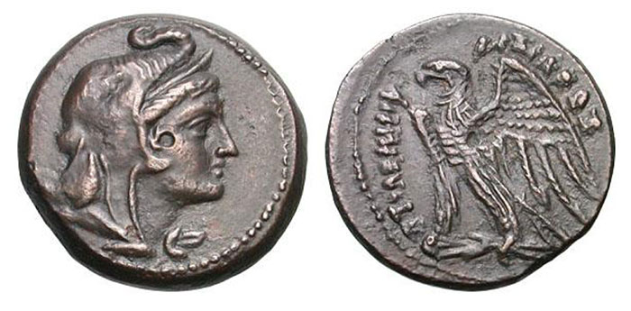 Ptolemy V Epiphanes. (205-180 BC). Bronze 22 mm (8.48 gm). Alexandria Head of Alexander right, wearing elephant headdress / ΠΤΟΛΕΜΑΙΟΥ ΒΑΣΙΛΕ?Σ, eagle with spread wings standing left on thunderbolt. Svoronos 1236, pl. xl, 13. SNG Copenhagen 249-252.