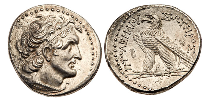 Ptolemy VI Philometor. Silver Tetradrachm (13.81 g), first sole reign, 180-170 BC. Uncertain mint in Cyprus. Year 92 (171/0 BC). Diademed head of Ptolemy I right, wearing aegis. Reverse: ?TO?EMAIOY SOTHPOS, eagle standing left on thunderbolt (retrograde P)B monogram (date) to left. Svoronos 1208