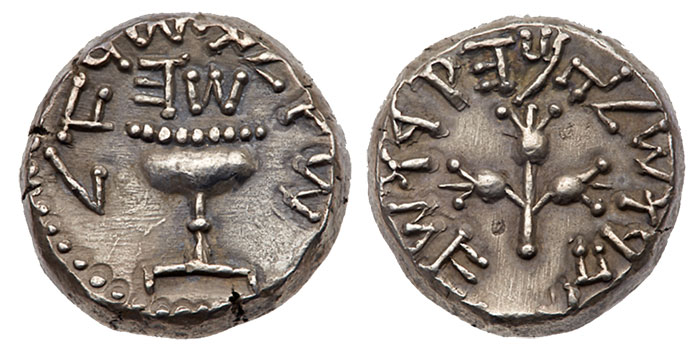 This superb Year 5 shekel would be the prize of any ancient Judaean collection. The Shoshana specimen sold for nearly $90,000 USD in 2012.