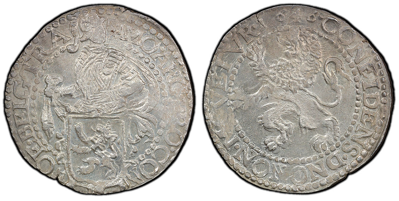 NETHERLANDS. Utrecht. 1646 AR Daalder, Lion. Images courtesy Atlas Numismatics
