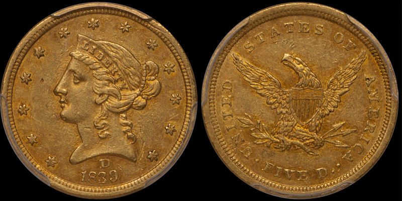 1839-D $5.00 PCGS AU55 CAC. Image courtesy Doug Winter