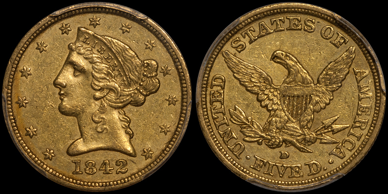 1842-D LARGE DATE $5.00 PCGS AU55 CAC. Image courtesy Doug Winter