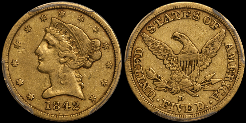 1842-D LARGE DATE $5.00 PCGS VF35 CAC. Images courtesy Doug Winter
