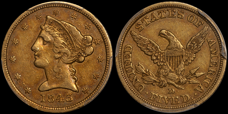 1843-D $5.00 PCGS VF35 CAC. Images courtesy Doug Winter