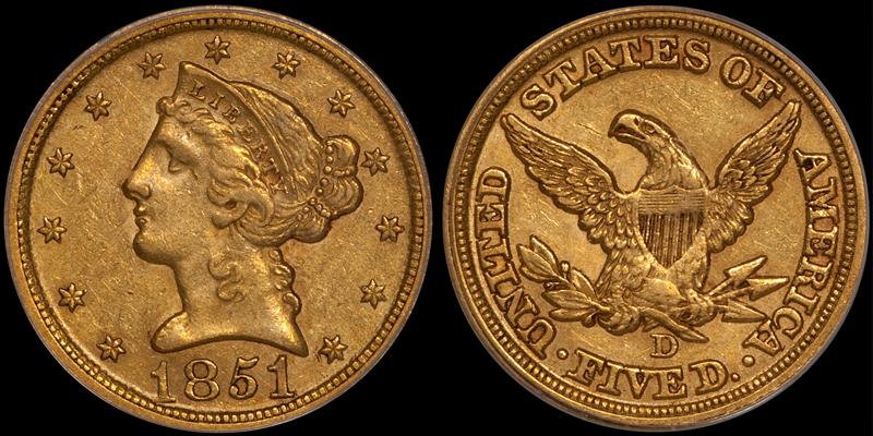 1851-D $5.00 PCGS AU53 CAC. Images courtesy Doug Winter