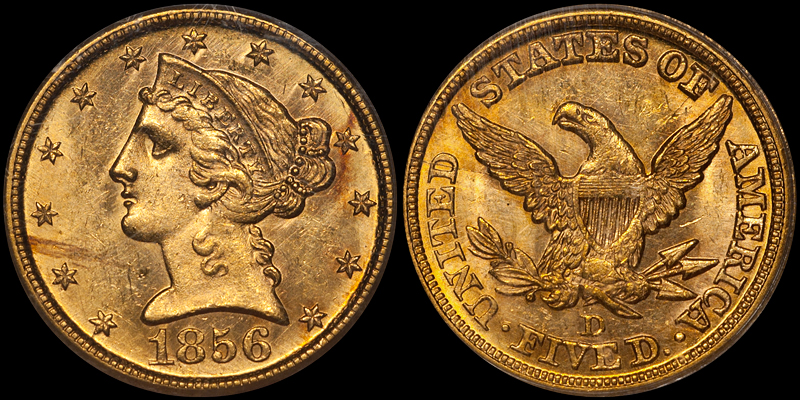 1856-D $5.00 PCGS MS62. Images courtesy Doug Winter