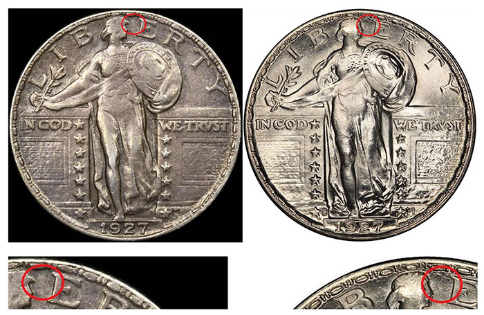 Obverse example #5 and Known Genuine example (courtesy PCGS)