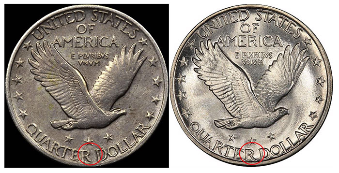Reverse example #5 and Known Genuine example (courtesy PCGS)