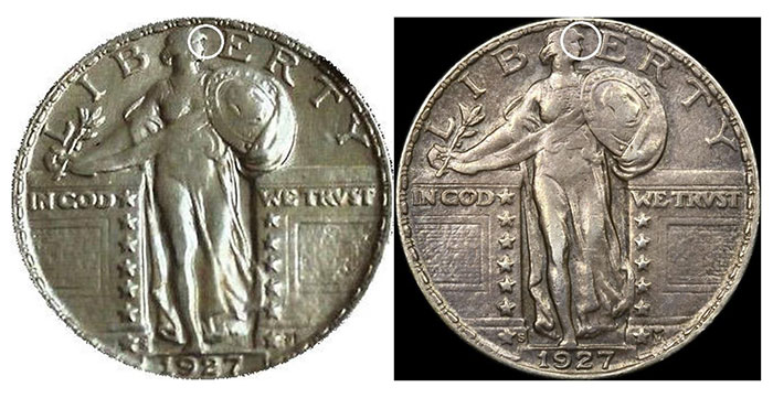 Obverse example #2 and example #5